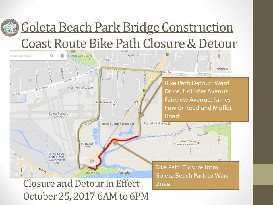 Goleta Beach Bike Path Detour